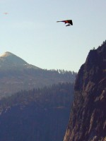 Two hang gliders in the air above Yosemite Valley